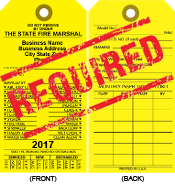 Annual certification or condemned tag for extinguisher.